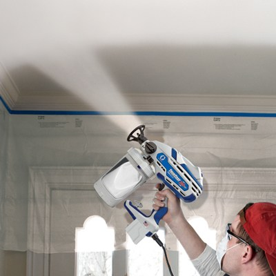 Spray painting the ceiling