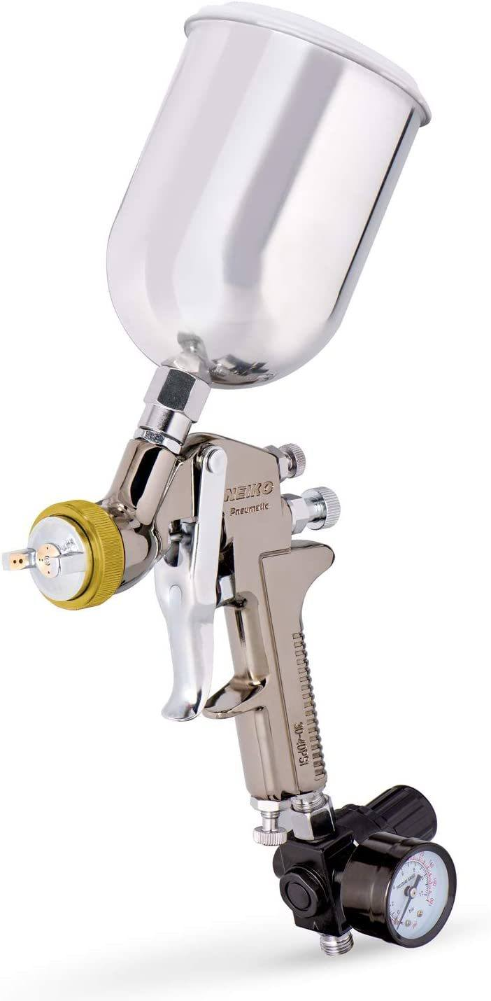 The Neiko 31215A Spray Gun is a heavy-duty alternative for all DIY enthusiasts who love spending time working on different projects. The one-piece steel construction ensures that you get long-lasting services from this gravity feed spray gun. Note that the solid brass cap and stainless-steel nozzle are built for longevity and durability. You won't need to worry about getting a new gun in the near future when you purchase this model. Clean up is also made relatively easy due to the construction of this spray gun. You get three adjustable knobs that ensure a precision finish when working on different projects. The included 1.7mm nozzle is perfect for primer, metallic basecoat, and a wide variety of household and automotive projects.